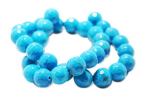 Blue Howlite bead string, round, faceted, 12mm, 40cm