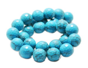 Blue Howlite bead string, round, faceted, 14mm, 40cm