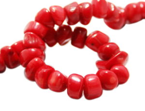 Red coral bead string, 10mm, rounded chuncks, 40cm