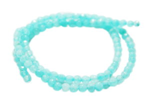 Light blue colored Jadeite bead string, round, faceted, 3mm, 40cm