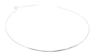 Wire choker necklace, ball and hook clasp, 45cm, nickel free, bright silver