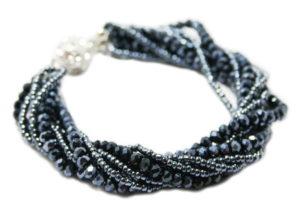Seedbead and glass bracelet w magnetic clasp, gunmetal grey