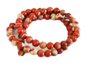 Cappuccino Red Jasper bead string, round, 10mm, 40cm
