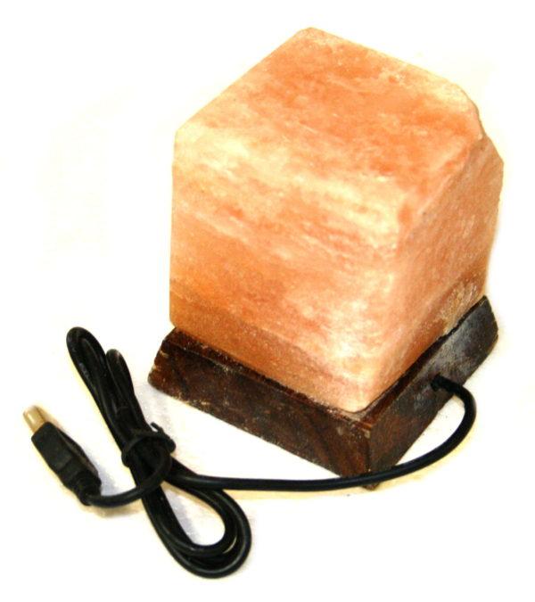 Himalayan Salt Lamp, cube, 10cm high, USB LED