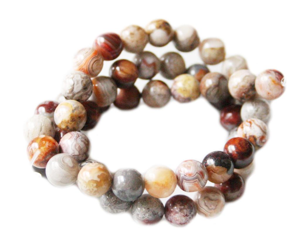 Laguna Lace Agate bead string, round, 8mm, 40cm