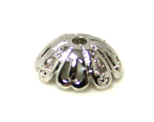 2 x Nickel free bead cap w rhinestones, 8mm, AAA