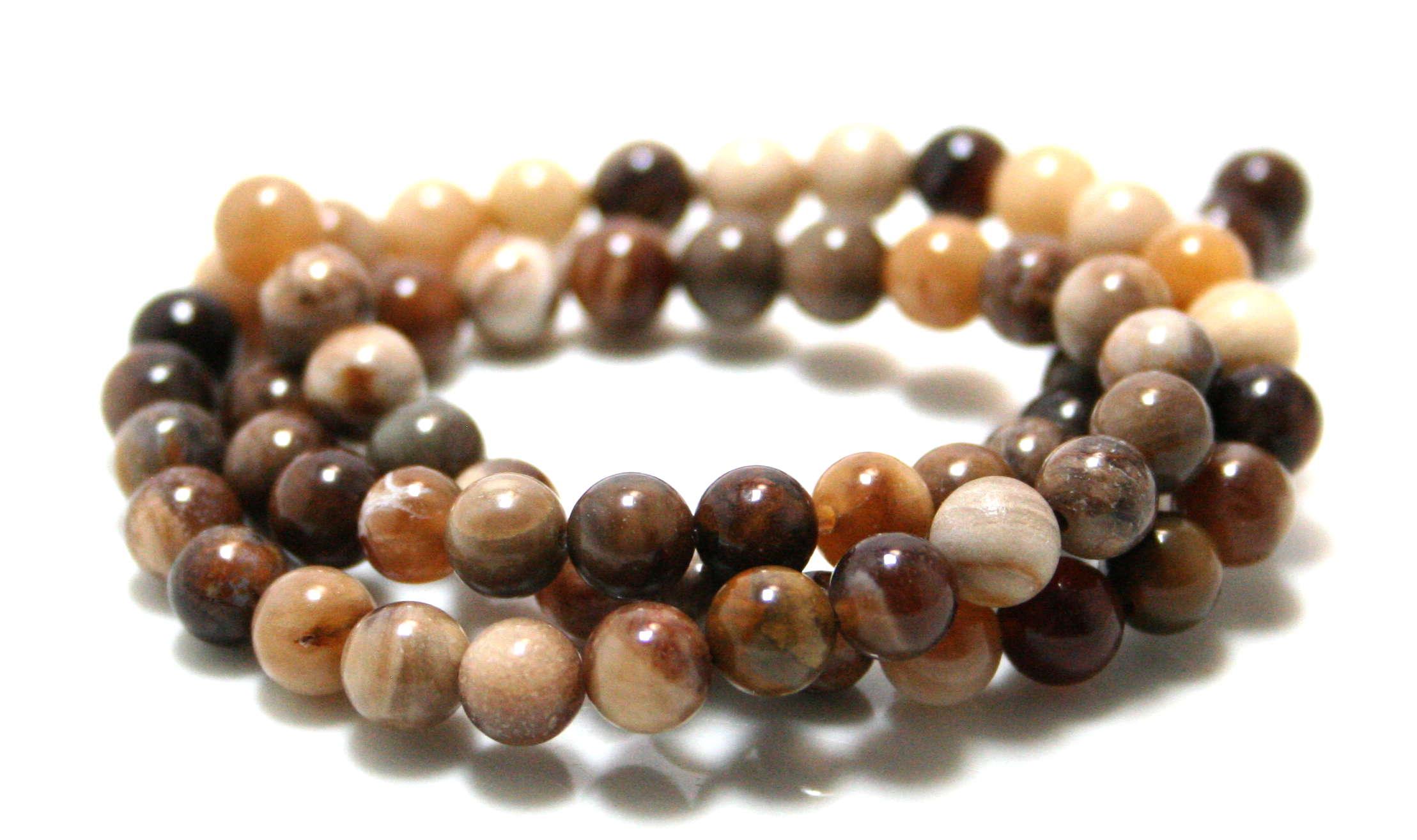 Wood Opalite bead string, 6mm, 40cm