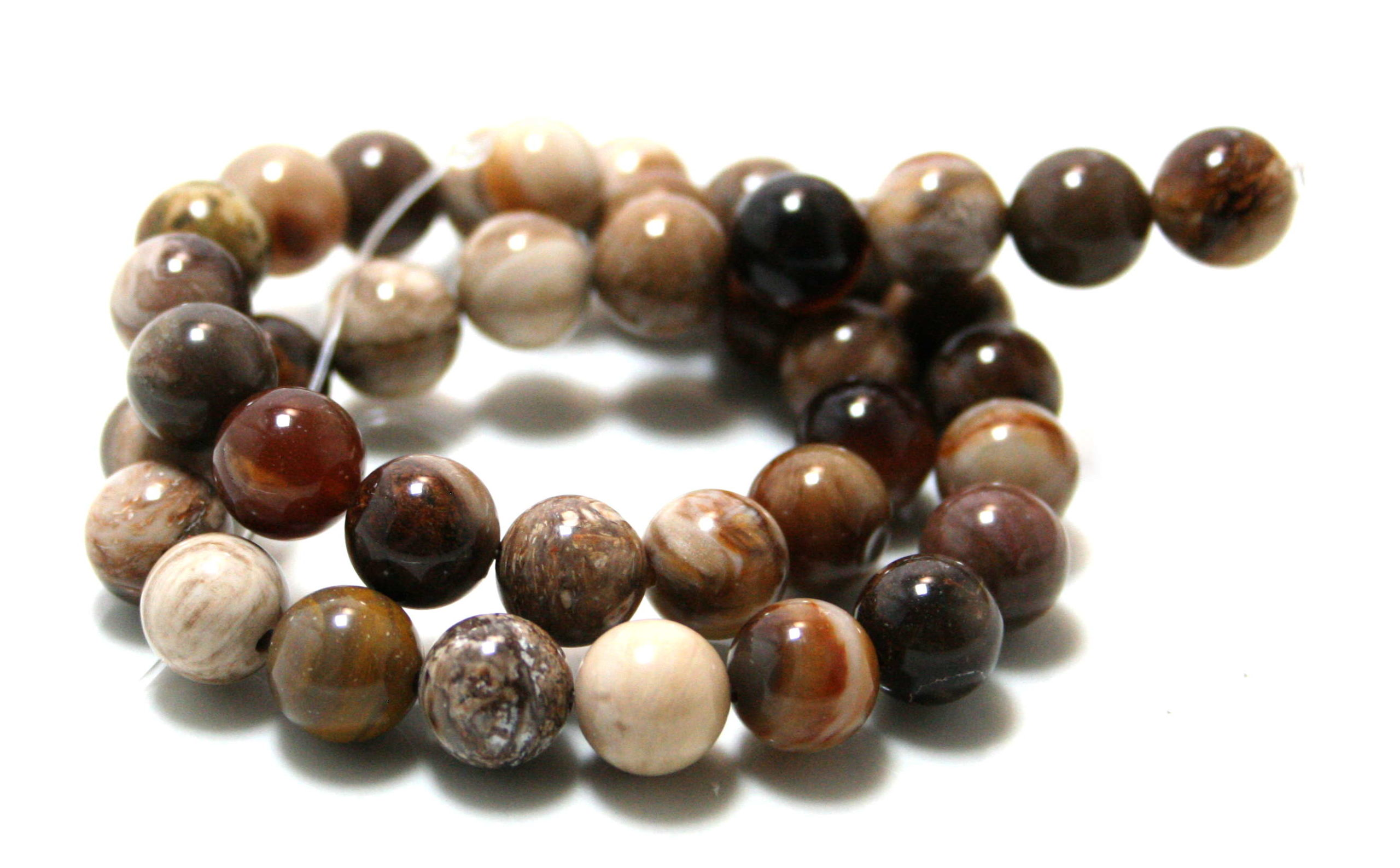 Wood Opalite bead string, 10mm, 40cm