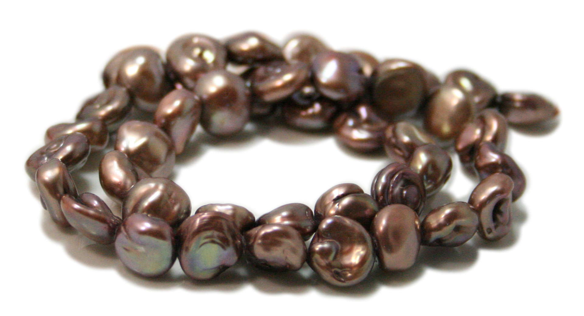 Freshwater pearl string, buttons, chocolate, 10-11mm, 40cm