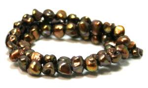 Freshwater pearl string, irregular, chocolate bronze, 6-7mm, 40cm