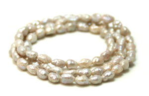 Freshwater pearl string, rice, light grey, 6mm, 40cm