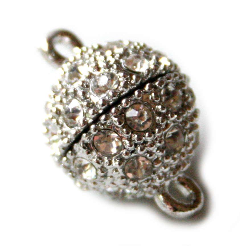 Magnetic clasp w rhinestones, 8mm, base metal