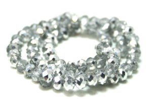 Clear and silver glass string, 5x6mm, rondelle, 45cm