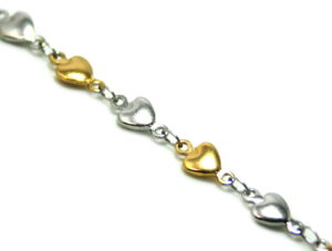 Stainless steel heart chain w clasp, two-tone, 5.5mm, 50cm