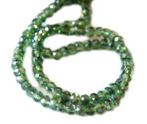 Dark green AB glass string, 6x8mm, rondelle, 45cm