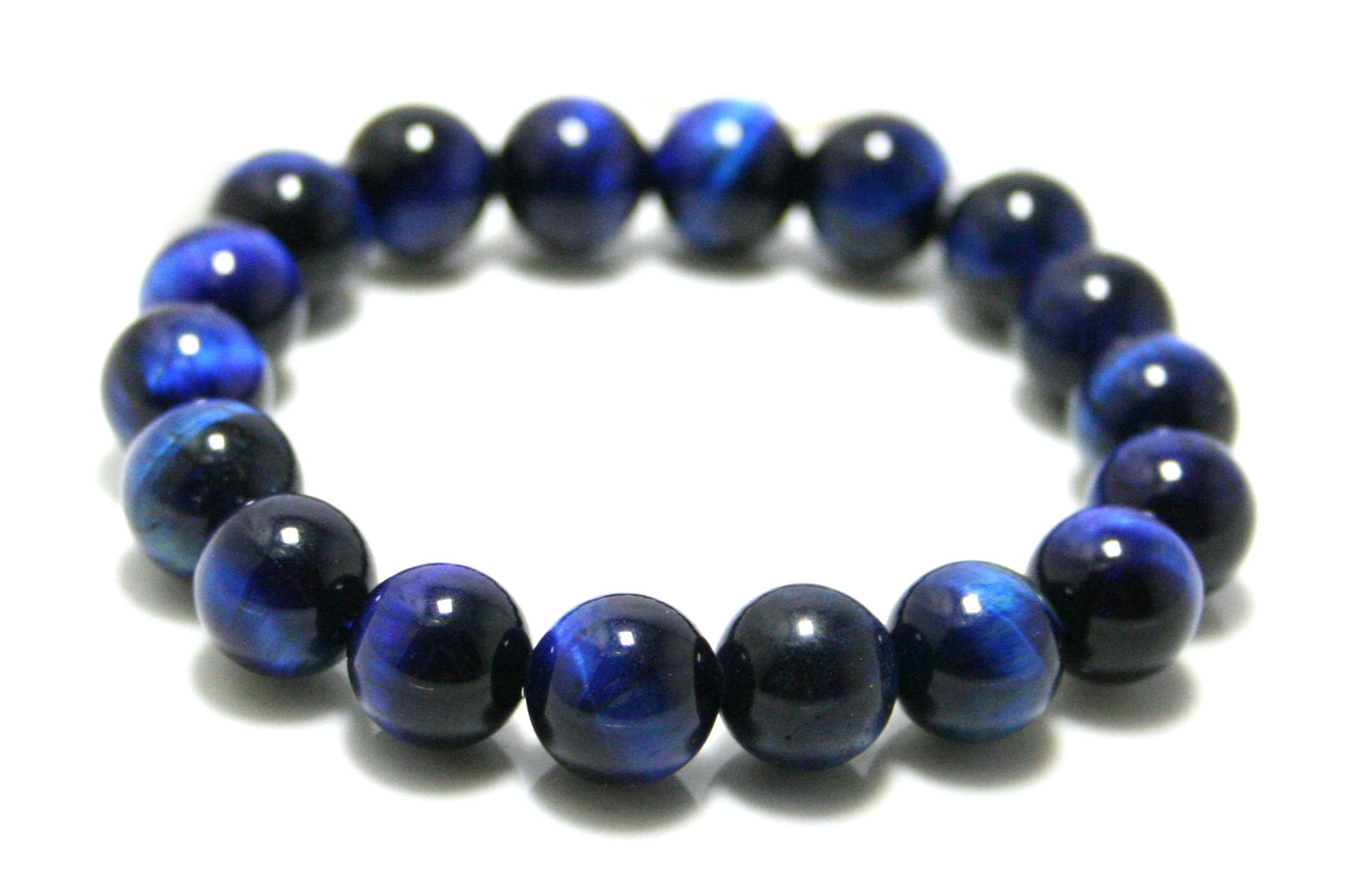 Blue Tiger Eye bracelet, stretchcord, 10mm