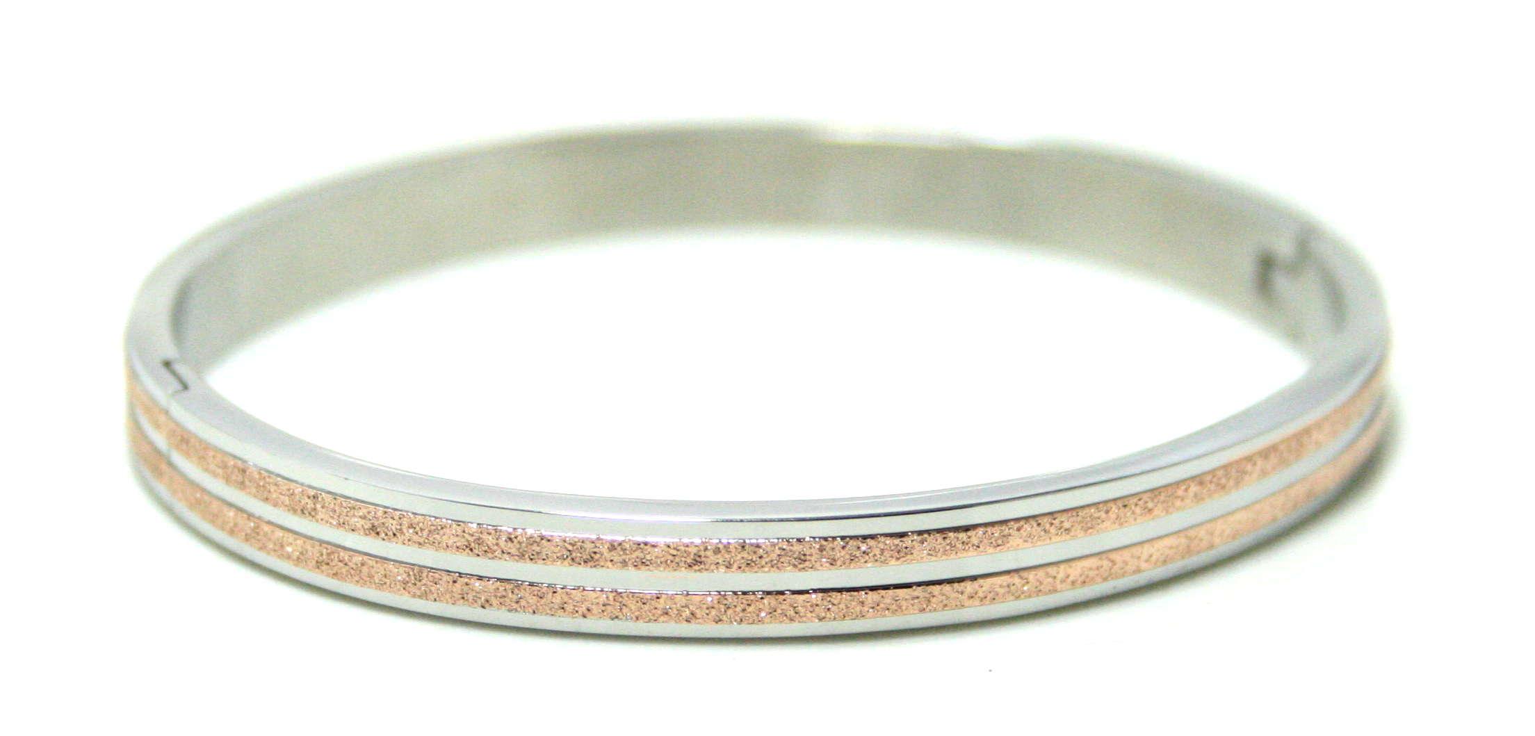 Stainless Steel bangle w rose gold sandblasting, silver