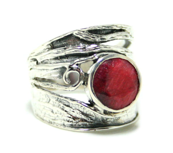 Ruby ring in 925 silver, 18mm ID